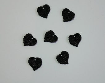 50 Small Black Acylic Lucite Frosted Leaf Charms For Jewellery Making, Earrings, Arts and Crafts