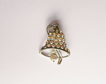 Vintage Silver and Rhinestone Novelty Bell Brooch, Mid Century, Constume Jewellery