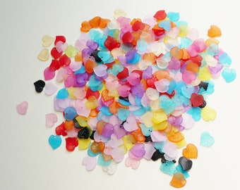 Approx 300 Small Rainbow Mix #1 of Acylic Lucite Frosted Leaf Charms For Jewellery Making, Earrings, Arts and Crafts