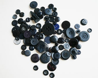 Black Mix of Assorted Buttons, Crafting Supplies, Value Button Packs, Sewing Notions, Haberdashery Supplies,