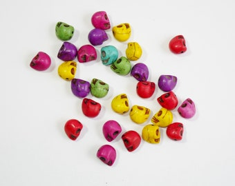 30 Rainbow Howlite Skull Beads, Jewellery Making, Beads and Charms, Arts and Crafts