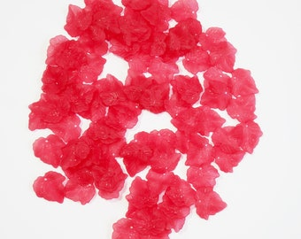 50 Large Red Acylic Lucite Frosted Leaf Charms For Jewellery Making, Earrings, Arts and Crafts