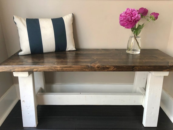 Wondrous Farmhouse Wood Bench Rustic Wood Stain Top With White Legs Entry Bench Mudroom Bench Dining Bench Rustic Wood Bench Inzonedesignstudio Interior Chair Design Inzonedesignstudiocom