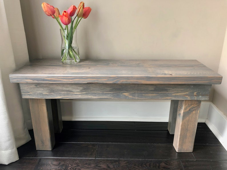 Pleasing Gray Wood Bench Rustic 3 Feet Mudroom Bench Entry Bench Rustic Bench Farmhouse Bench Classic Gray Inzonedesignstudio Interior Chair Design Inzonedesignstudiocom
