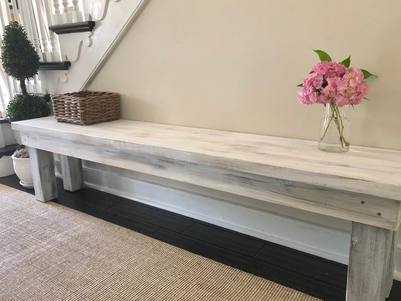Pleasant Whitewashed Wood Bench Rustic Dining Bench Mudroom Bench Entry Bench Rustic Bench Farmhouse Bench Squirreltailoven Fun Painted Chair Ideas Images Squirreltailovenorg