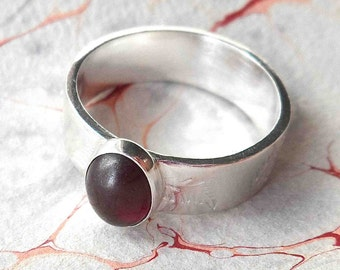 Deep Red Garnet and Sterling Silver Ring