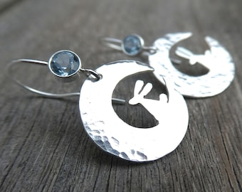 Moon Bunny Sterling Silver and Blue Topaz Earrings