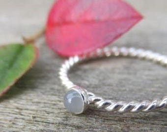 Jane Eyre Grey Moonstone Glimmer Ring Sterling Silver Ring
