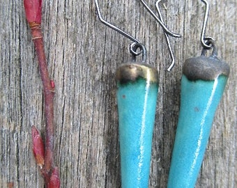 Turquoise Ceramic and Sterling Silver Earrings