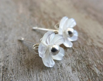 Small Mother of Pearl Blossom Sterling Silver Stud Earrings