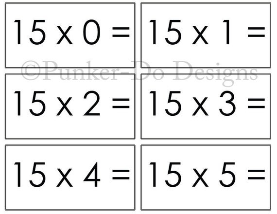 image about Math Flash Cards Printable named Multiplication - MATH - flash playing cards - 1x-15x - Fast Obtain Printable PDF - by means of Punker-do Plans - Clroom Homeschool