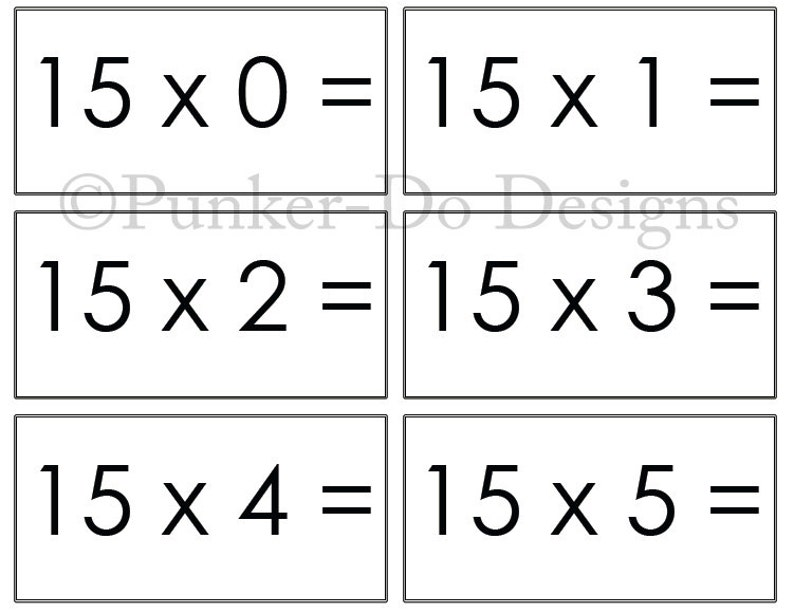 picture relating to Printable Multiplication Flashcards identify Multiplication - MATH - flash playing cards - 1x-15x - Quick Obtain Printable PDF - by way of Punker-do Layouts - Clroom Homeschool