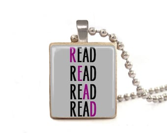 Read Necklace   Book Necklace   Book Pendant   Teacher Gift   Gift for Librarian   Gift for Student   Game Piece Necklace   Wood Jewelry