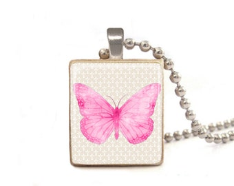 Pink Butterfly Necklace | Butterfly Pendant | Butterfly Charm | Butterfly Jewelry | Gift for Graduation | Mother's Day Necklace | Wood