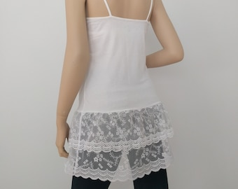Shirt Extender Ivory Lace Camisole, Top Slip Extender, Dress Extenders, Ivory Lace Top Extender, Ivory lace, Size S-2XL