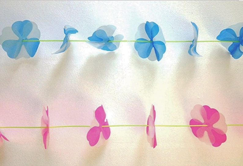 Parcel Vintage Clover Garland; READY TO SHIP; Blue or Pink