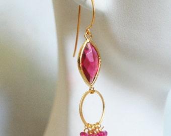 Pink Quartz-Bezel setting Ruby Glass Marquise Dangle Drop Earrings-Hoop Earrings