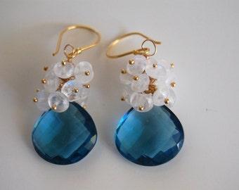 London blue quartz and moonstone dangle earrings