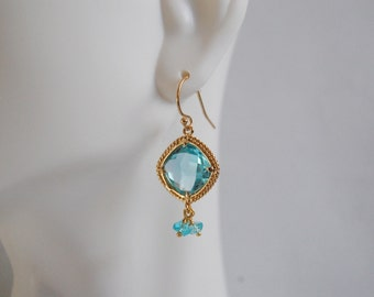 Aquamarine glass and blue Apatite dangle earrings