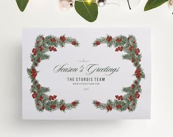 Corporate Christmas Card or Company Holiday Card, Holly Card, PRINTABLE
