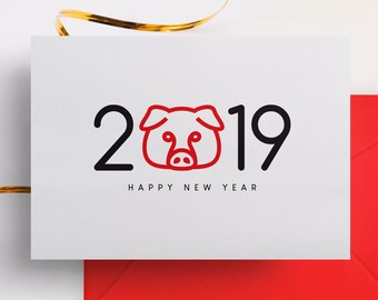 2019 year of the pig cards year of the boar chinese new year chinese zodiac new years card greeting card instant download pdf jpeg