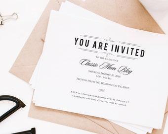 rehearsal dinner invitation, fundraiser invitation, corporate invitation, dinner invitation, gala invitation or event invitation, printed