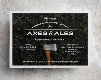 Axe Throwing Party Invitation or Axe Invitation for Axe Throwing Birthday, Axe Throwing Company Party, 40th birthday axe throwing PRINTED