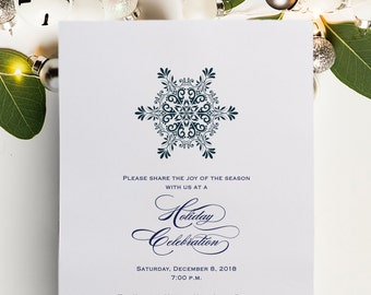 Formal Holiday Party Invitation or Christmas Party Invite for Black Tie, Gala, or Winter Wonderland Event available Printable or Printed