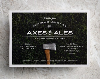 Axe Throwing Invitation for Axe Throwing Party, Team Building Event, Corporate Event, Birthday Party, Company Event, or Fundraiser Invite