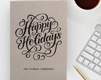 Company Christmas Card Personalized with Business Name or Corporate Holiday Card, available Printed with Envelopes, or Print Ready