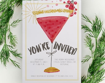 Holiday Cocktail Party Invitation or Christmas Party Invite with Cocktail Glass Watercolor for Company Holiday Party or Corporate Event