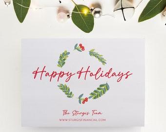 Corporate Holiday Card, Company Christmas Card or Christmas Wreath Card, PRINTABLE