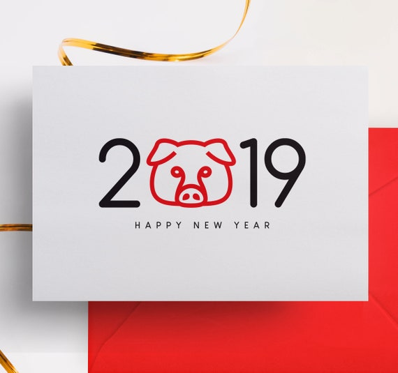 Chinese New Year Cards 2019 Year Of The Pig Year Of The Etsy