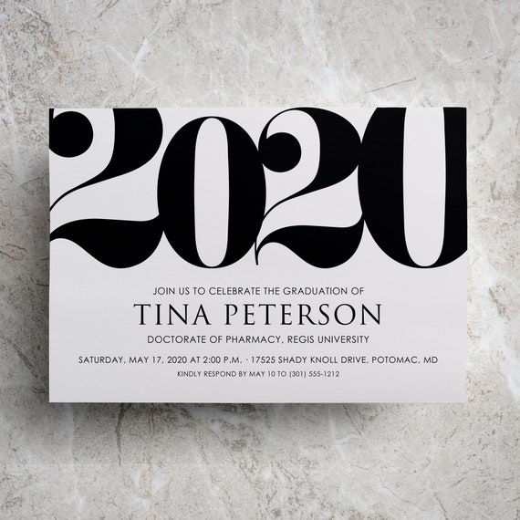 Free Printable Graduation Invitations 2020.2020 Graduation Invitation Or Grad Announcement For Class Of 2020 Graduate Party Or Graduation Celebration Available Printed Or Printable