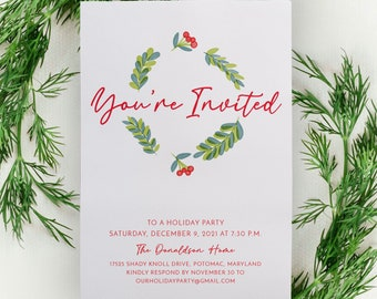 Company Holiday Party Invitation or Christmas Party Invite, Printable Xmas Invitation, Customized With Your Text PRINTABLE
