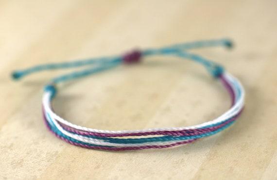 blue and pink surfer bracelet wax bracelet surf jewelry dark blueblack adjustable bracelet beach jewelry String Bracelet
