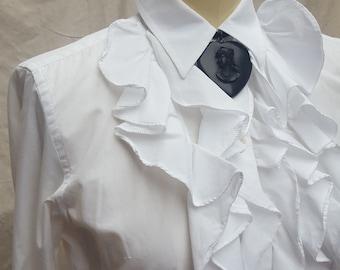 11384819f7d947 Ralph Lauren, ruffled, white blouse, size small