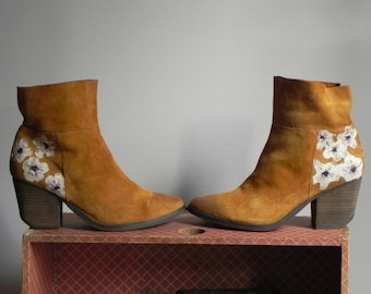 hand painted, floral ankle boots, women's size 9