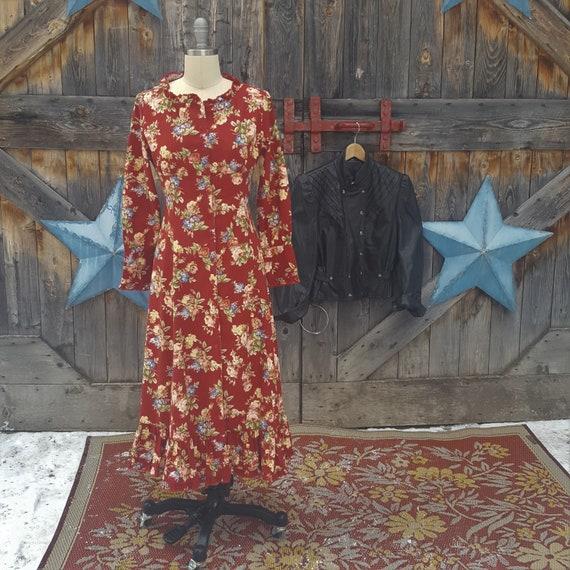 Floral, 1990's, corseted, prairie dress