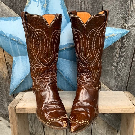 1960's, patent leather, Justin cowgirl boots