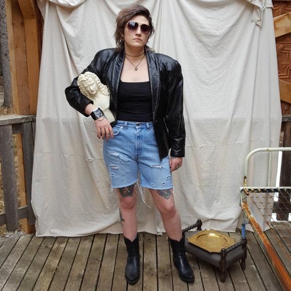 1980's, sexy black leather jacket, by Danier