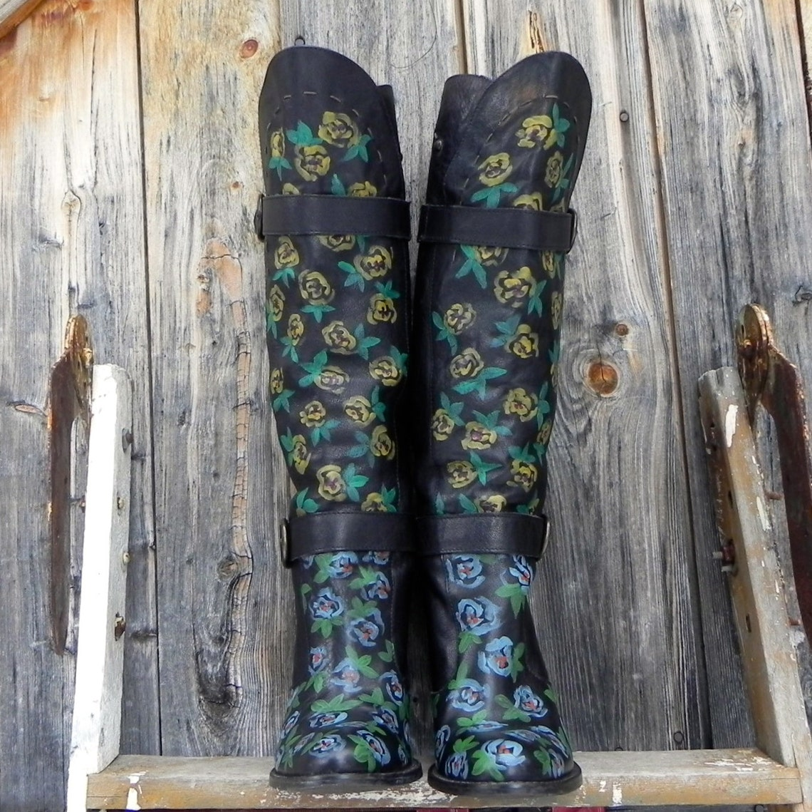 Hand Painted Floral Tall Leather Boot Women's Size 39 - Big Sale Ljyg0