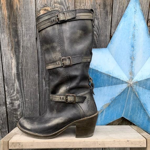 Frye, distressed harness boot, women's