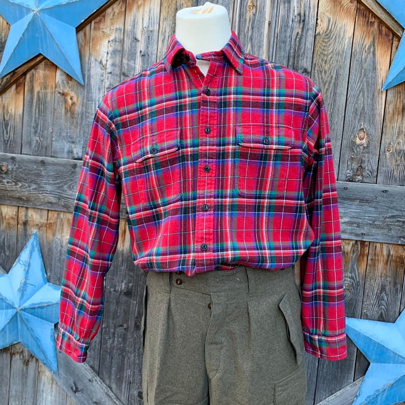 1940s Men's Shirts, Sweaters, Vests 1990s, Flannel, Tartan Shirt By Polo $10.00 AT vintagedancer.com
