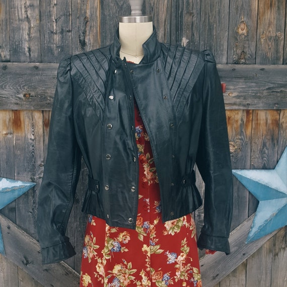 1970's black leather jacket, glam rock