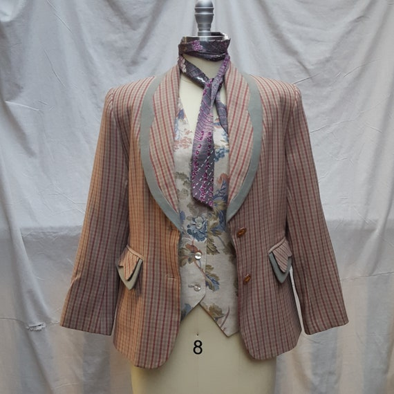 vintage, checked, wool blazer