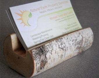 Business Card Holder Birch - Business Card Holder For Desk - Business Card Stand - Rustic Birch Business Card Holder
