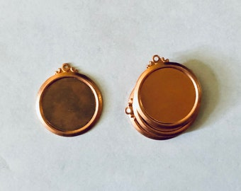 Circle Frame, Frame with ring, Copper Pendant, Copper Blank, Copper Component, Copper Stamping, Copper Shape, Star Shape, Painting with Fire