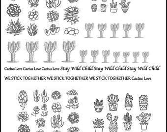 Cactus Decals, Full Sheet, Cactus, Decals for enameling, Painting with Fire, Decals for enamel, Enamel, Ceramic Decals, Ceramics, or Glass