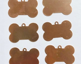 Dog Bones, Dog Tags,  Qty 6, Copper,  Copper Blank, Copper Stamping, Copper Form, Copper Component, Copper, Copper Shape, Painting with Fire